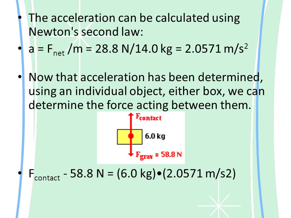 The acceleration can be calculated using Newton s second law: