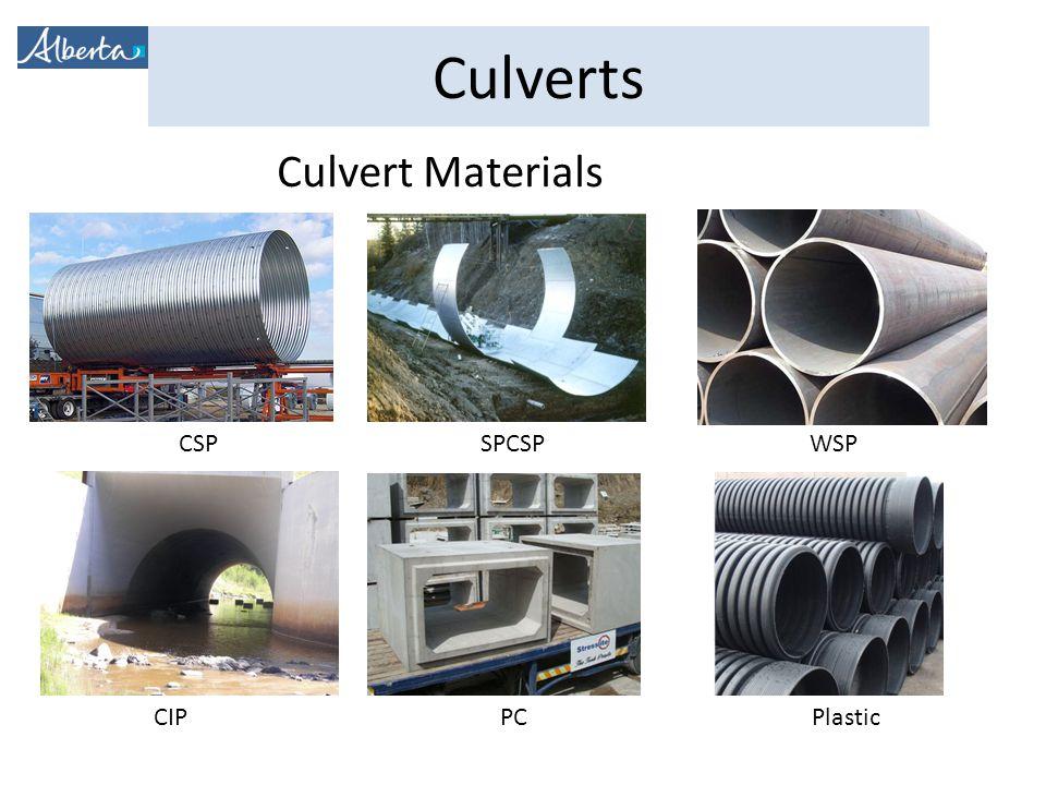 Culvert Materials CSP SPCSP WSP CIP PC Plastic