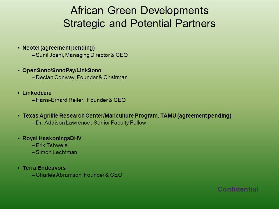 African Green Developments Strategic and Potential Partners