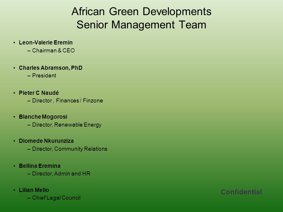 African Green Developments Senior Management Team