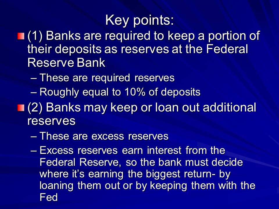Key points: (1) Banks are required to keep a portion of their deposits as reserves at the Federal Reserve Bank.