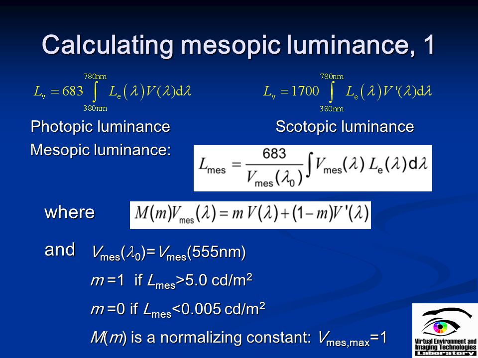 Calculating mesopic luminance, 1
