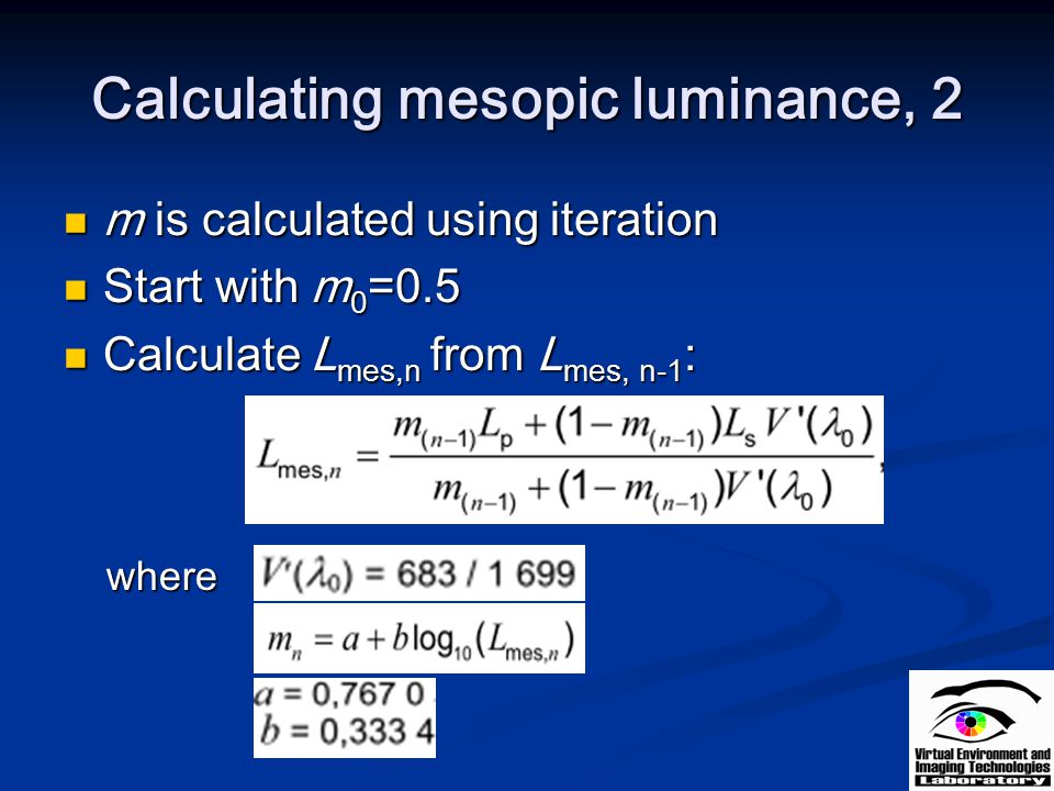 Calculating mesopic luminance, 2