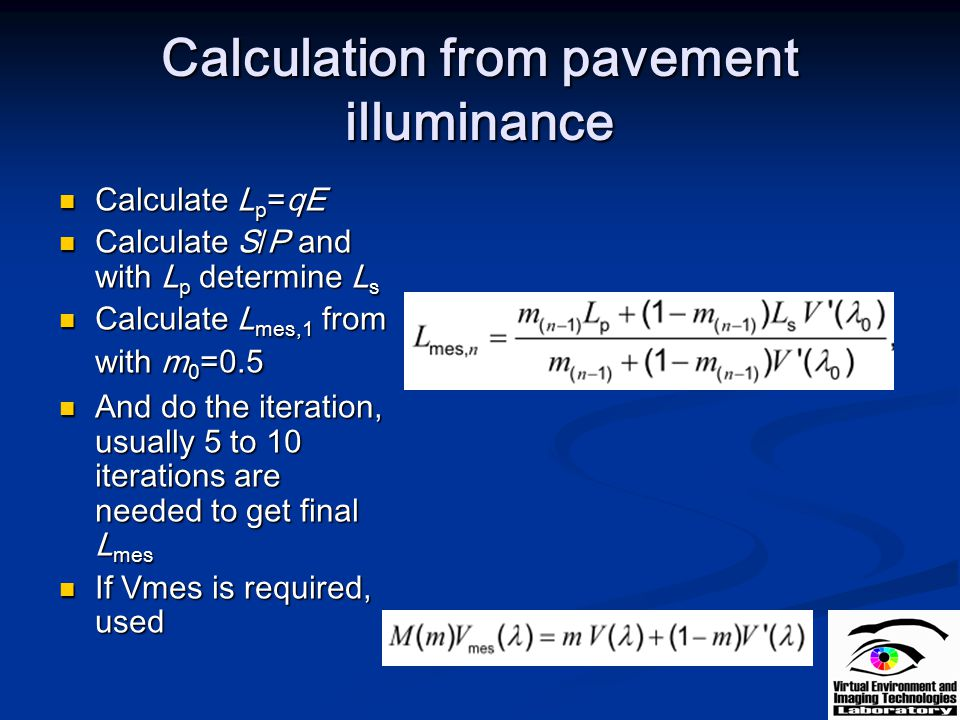 Calculation from pavement illuminance