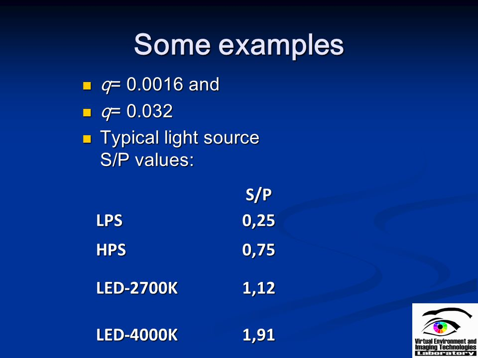 Some examples q= and q= Typical light source S/P values: