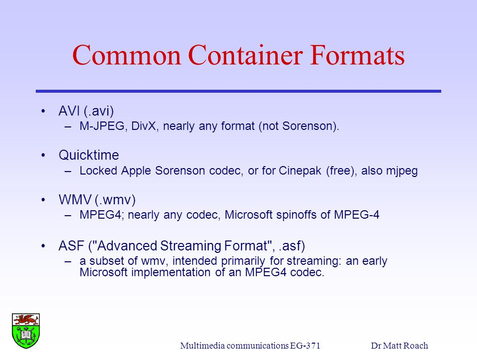Common Container Formats