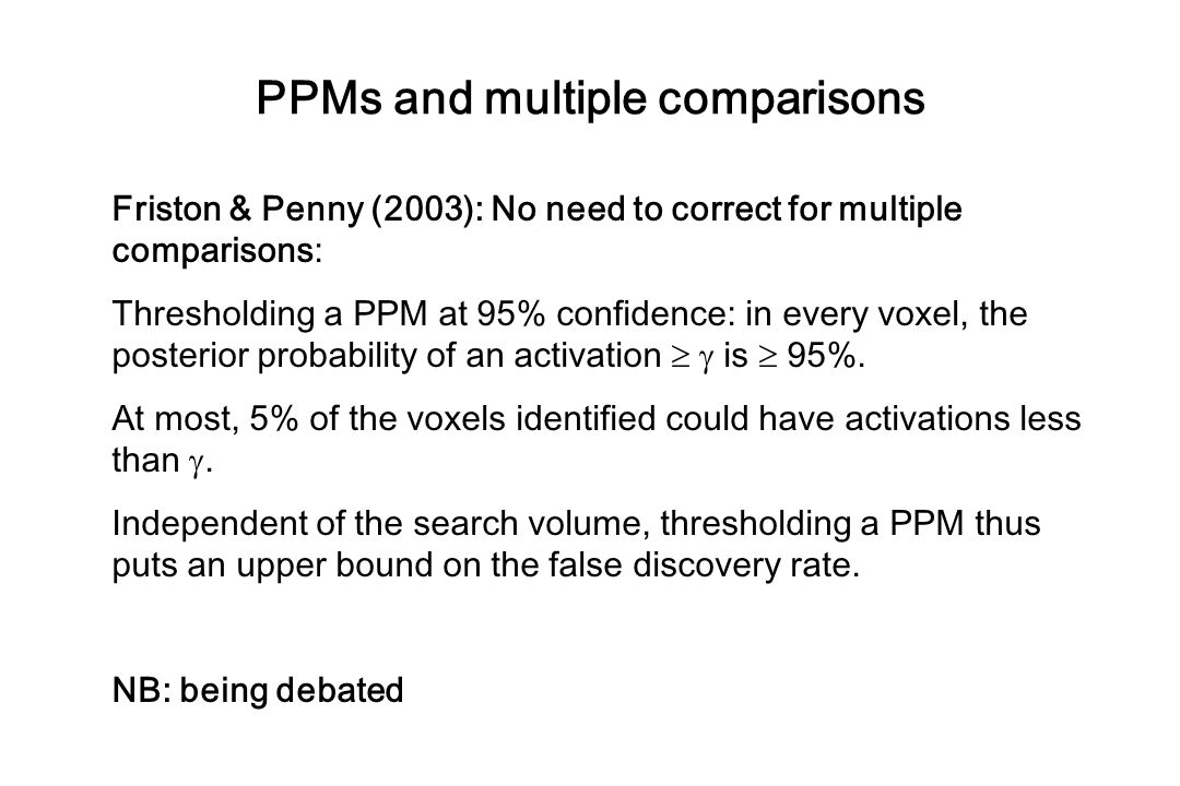 PPMs and multiple comparisons