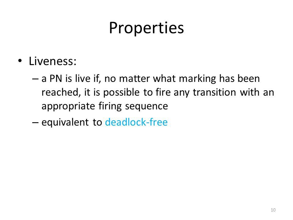 Properties Liveness: