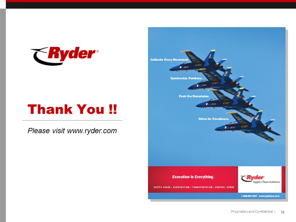 Thank You !! Please visit www.ryder.com 18