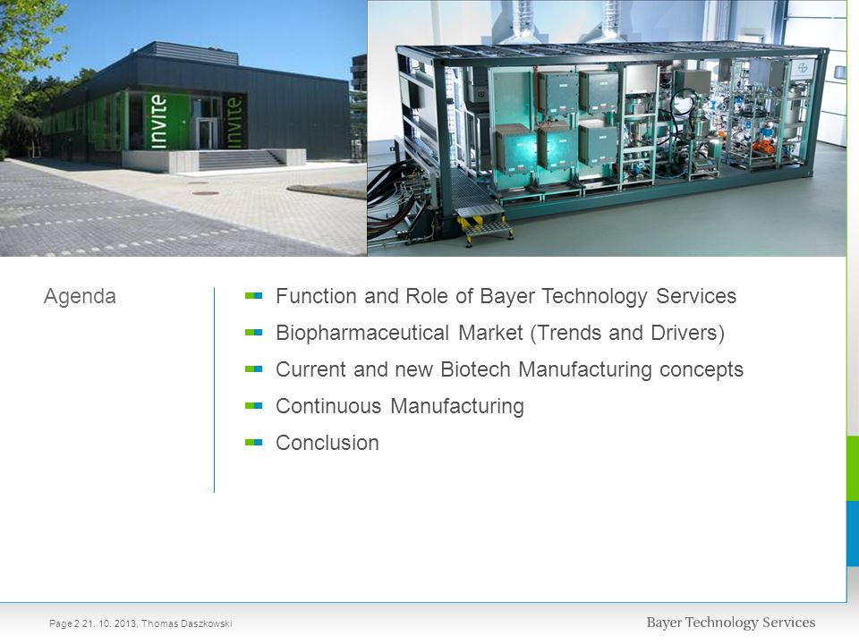 Function and Role of Bayer Technology Services