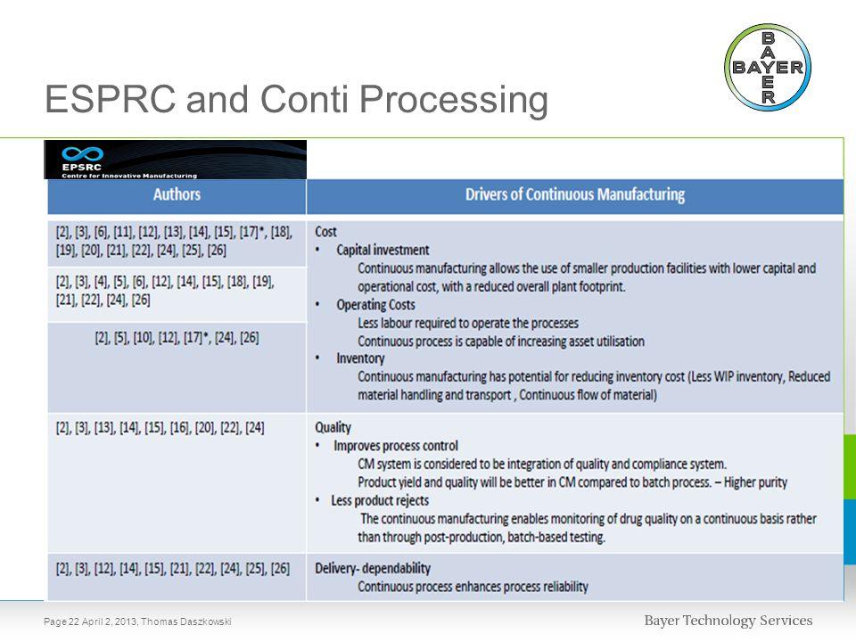 ESPRC and Conti Processing