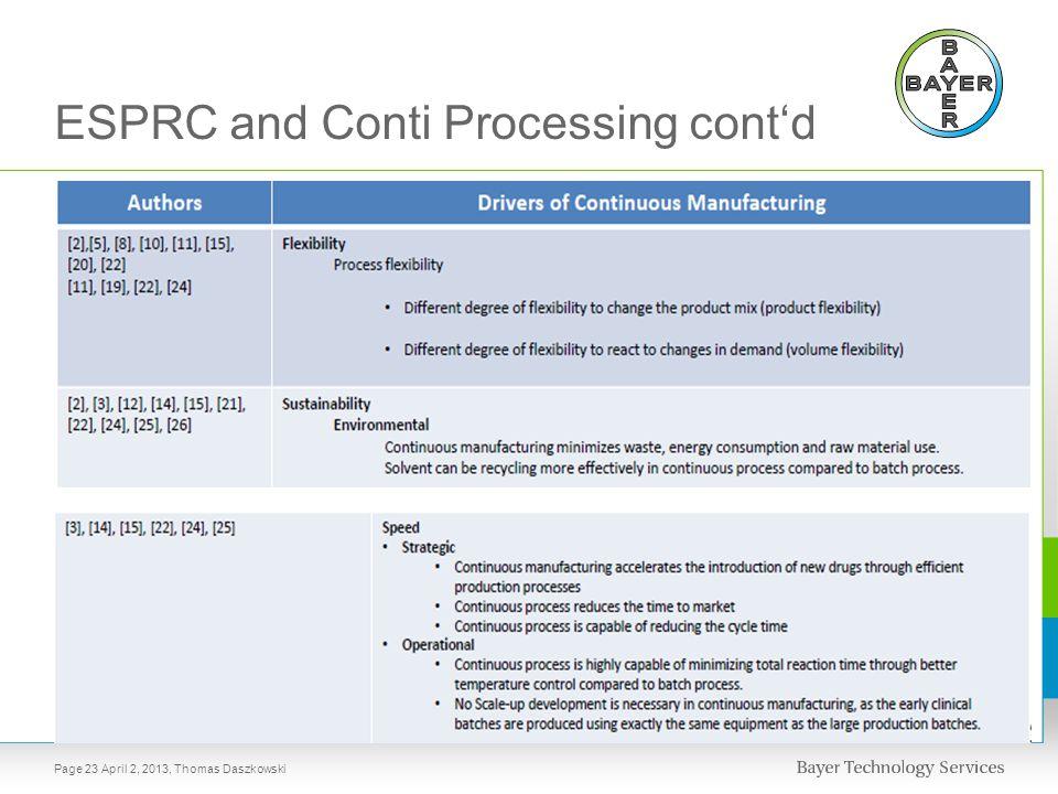 ESPRC and Conti Processing cont'd