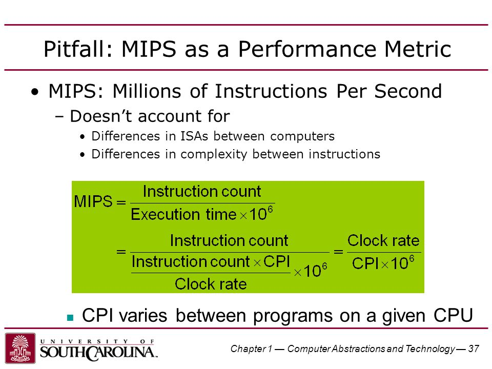 Pitfall: MIPS as a Performance Metric