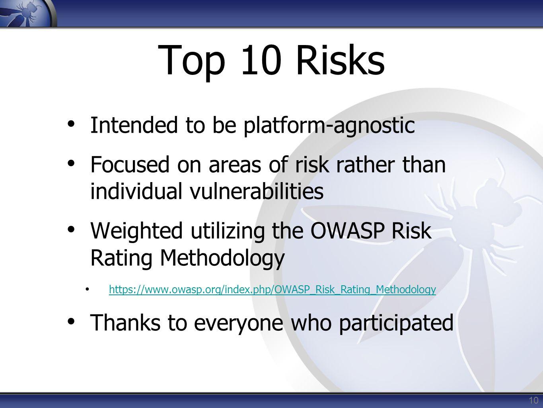 Top 10 Risks Intended to be platform-agnostic