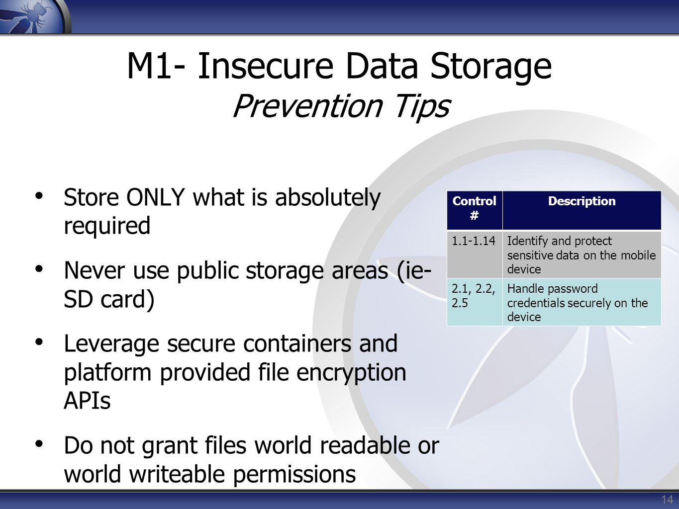 M1- Insecure Data Storage Prevention Tips