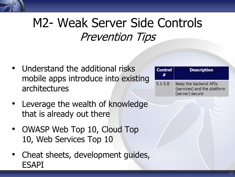 M2- Weak Server Side Controls Prevention Tips
