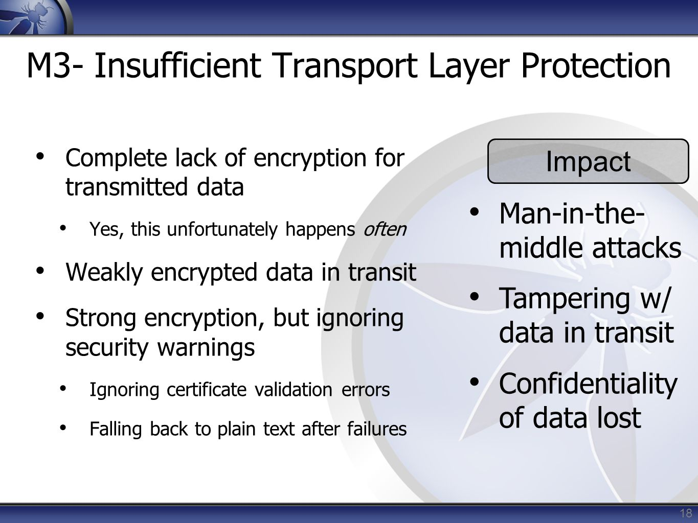 M3- Insufficient Transport Layer Protection