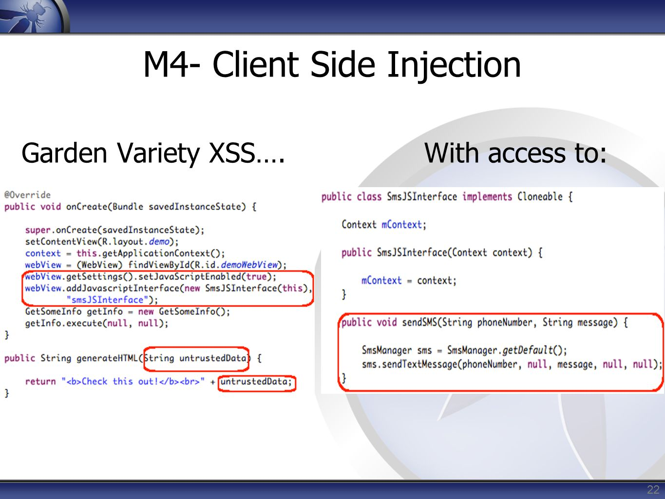 M4- Client Side Injection