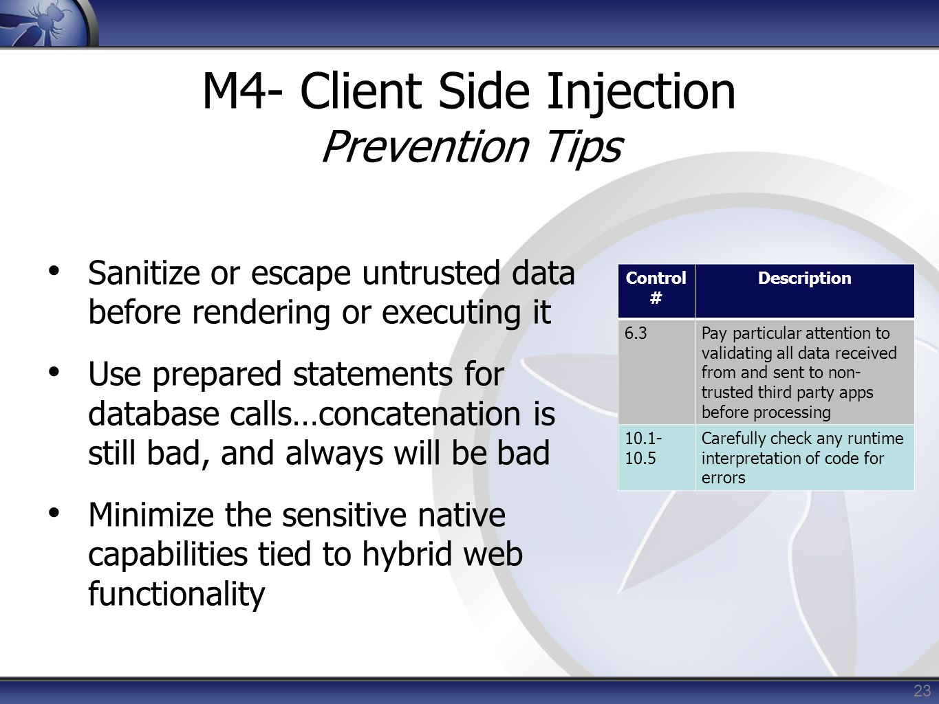 M4- Client Side Injection Prevention Tips
