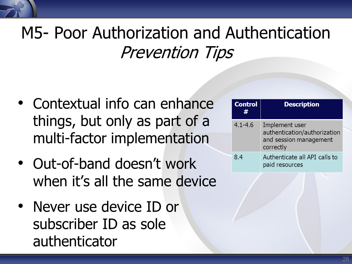M5- Poor Authorization and Authentication Prevention Tips