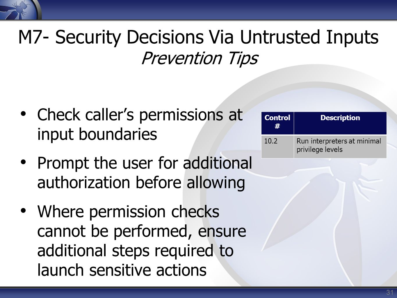 M7- Security Decisions Via Untrusted Inputs Prevention Tips