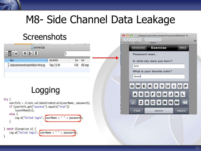 M8- Side Channel Data Leakage