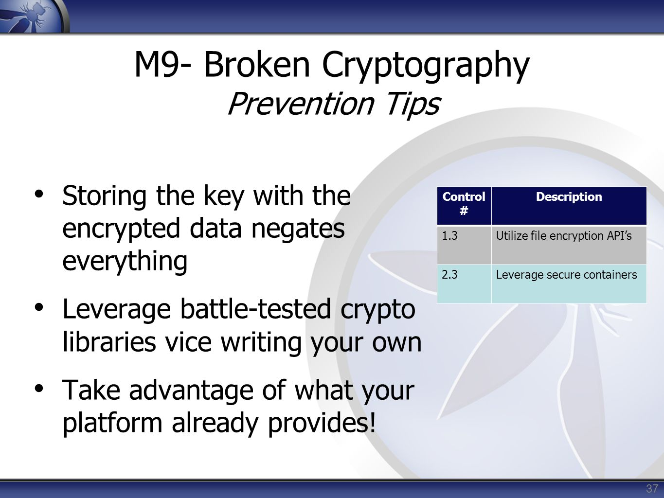 M9- Broken Cryptography Prevention Tips