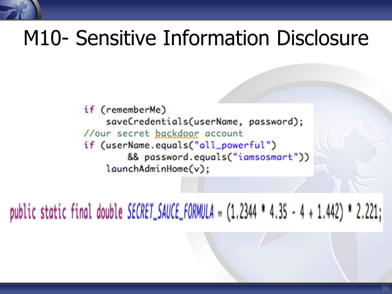 M10- Sensitive Information Disclosure