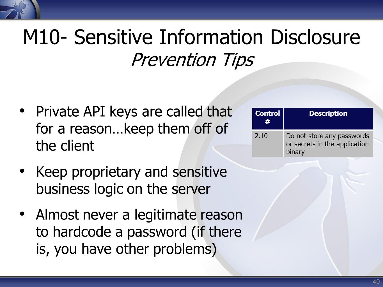 M10- Sensitive Information Disclosure Prevention Tips
