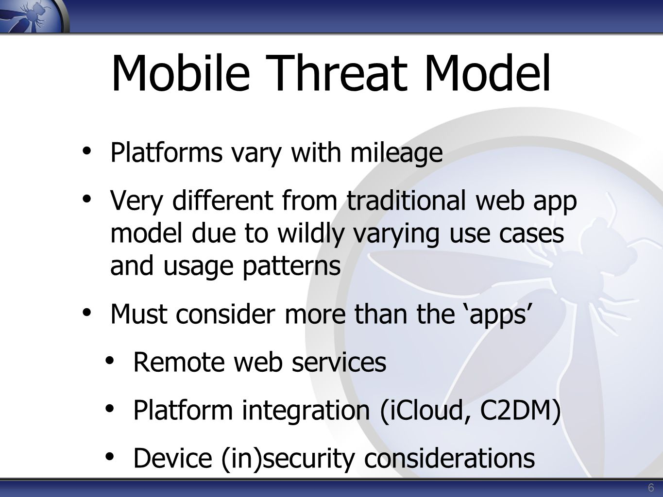 Mobile Threat Model Platforms vary with mileage