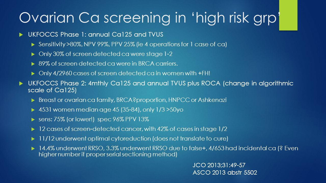 Ovarian Ca screening in 'high risk grp'