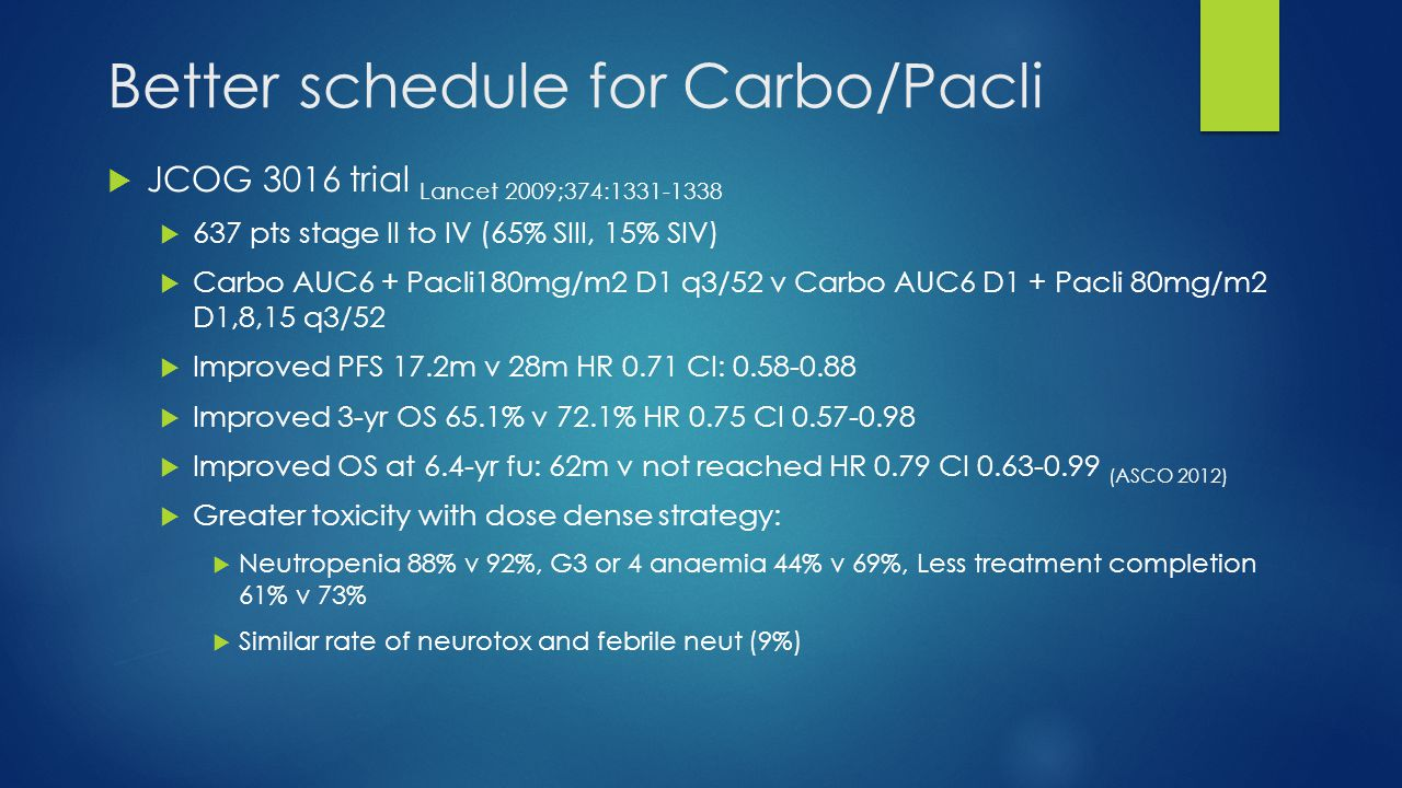 Better schedule for Carbo/Pacli
