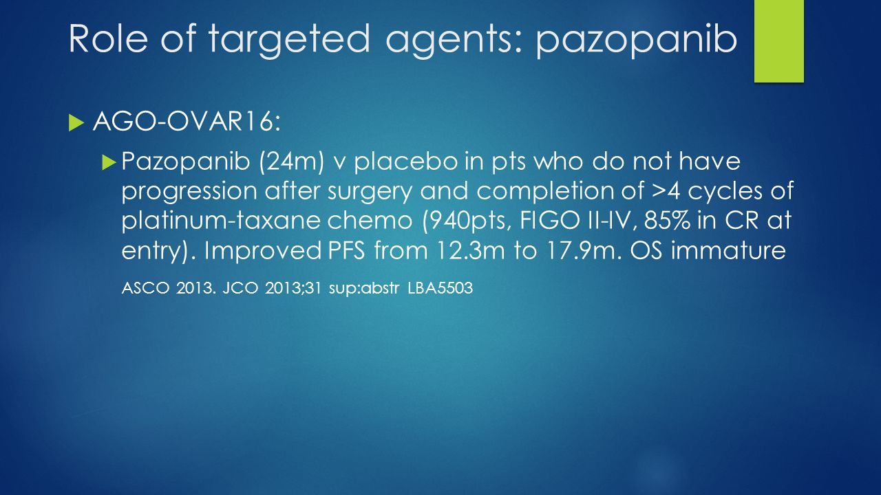 Role of targeted agents: pazopanib