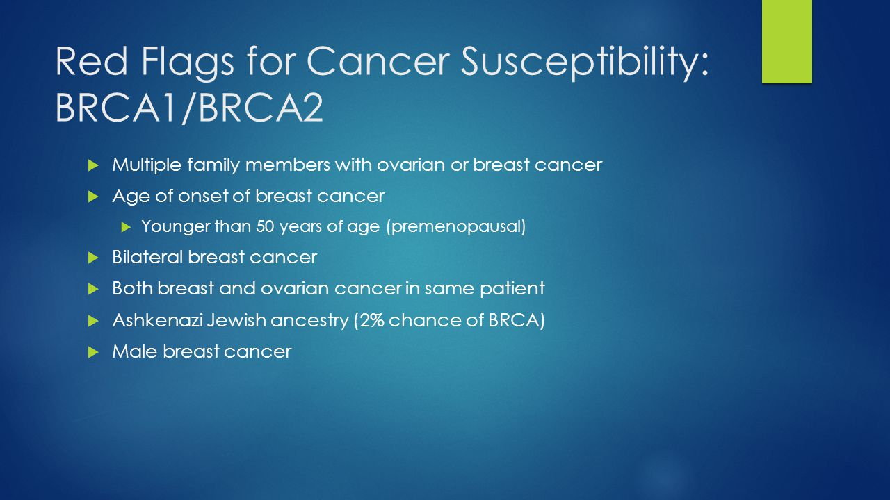 Red Flags for Cancer Susceptibility: BRCA1/BRCA2