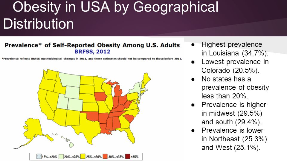 Obesity in USA by Geographical Distribution