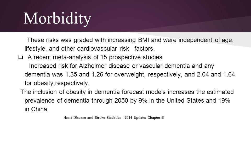 Morbidity These risks was graded with increasing BMI and were independent of age, lifestyle, and other cardiovascular risk factors.