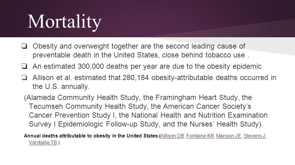 Mortality Obesity and overweight together are the second leading cause of preventable death in the United States, close behind tobacco use .