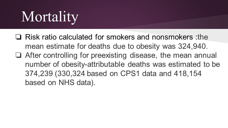 Mortality Risk ratio calculated for smokers and nonsmokers :the mean estimate for deaths due to obesity was 324,940.