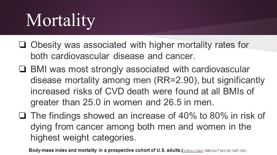 Mortality Obesity was associated with higher mortality rates for both cardiovascular disease and cancer.