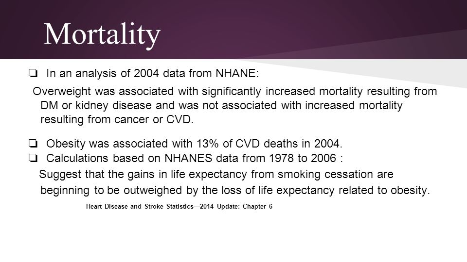 Mortality In an analysis of 2004 data from NHANE: