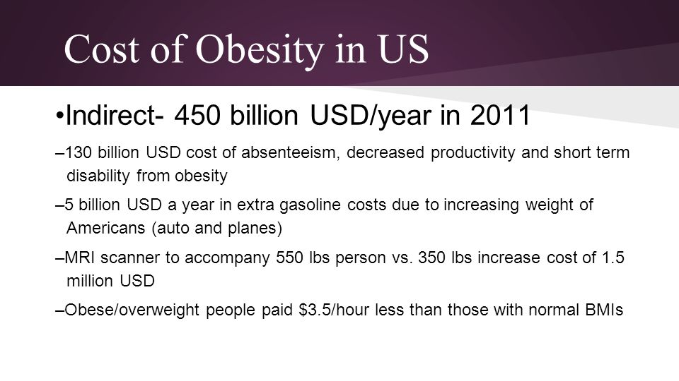 Cost of Obesity in US •Indirect- 450 billion USD/year in 2011