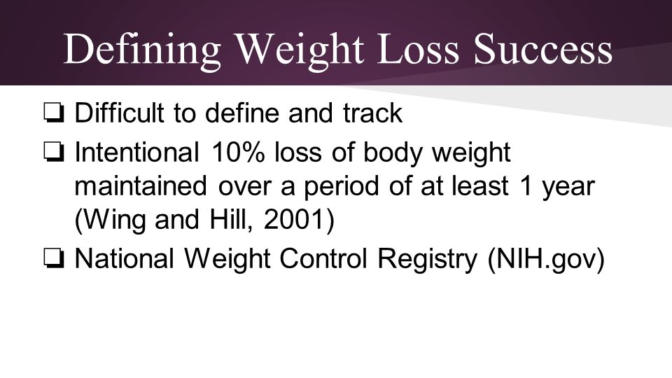 Defining Weight Loss Success