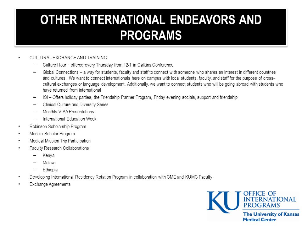 OTHER INTERNATIONAL ENDEAVORS AND PROGRAMS