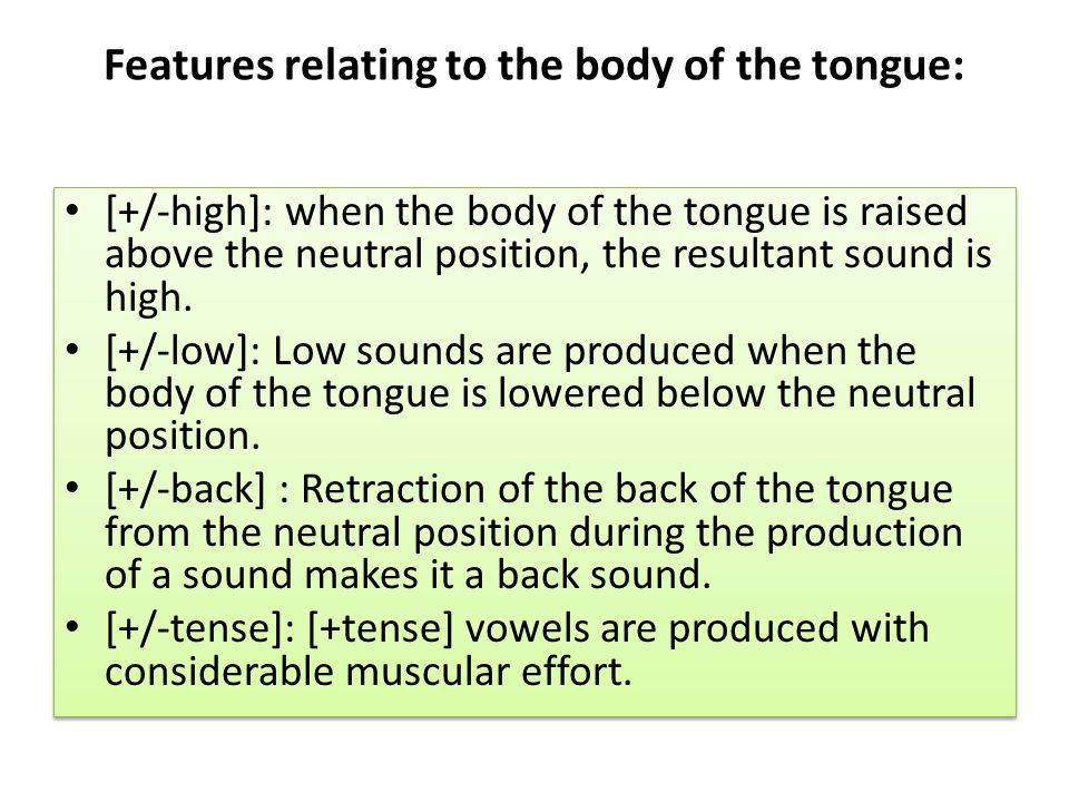 Features relating to the body of the tongue:
