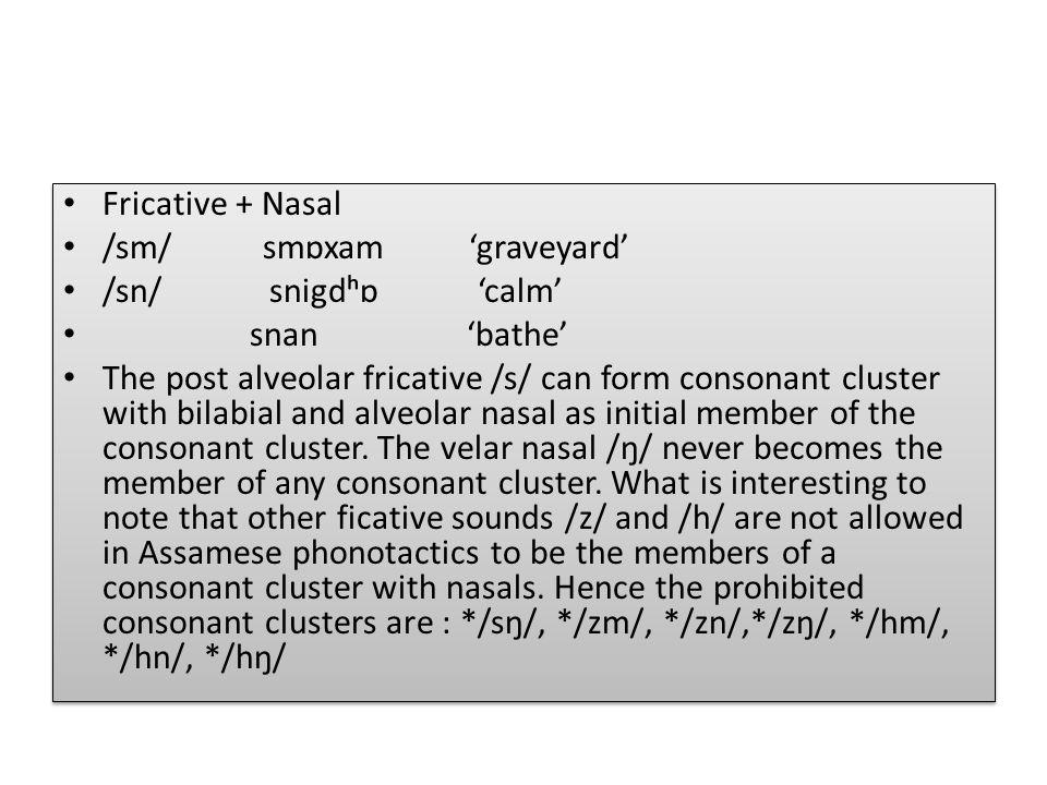 Fricative + Nasal /sm/ smɒxam 'graveyard' /sn/ snigdʰɒ 'calm'
