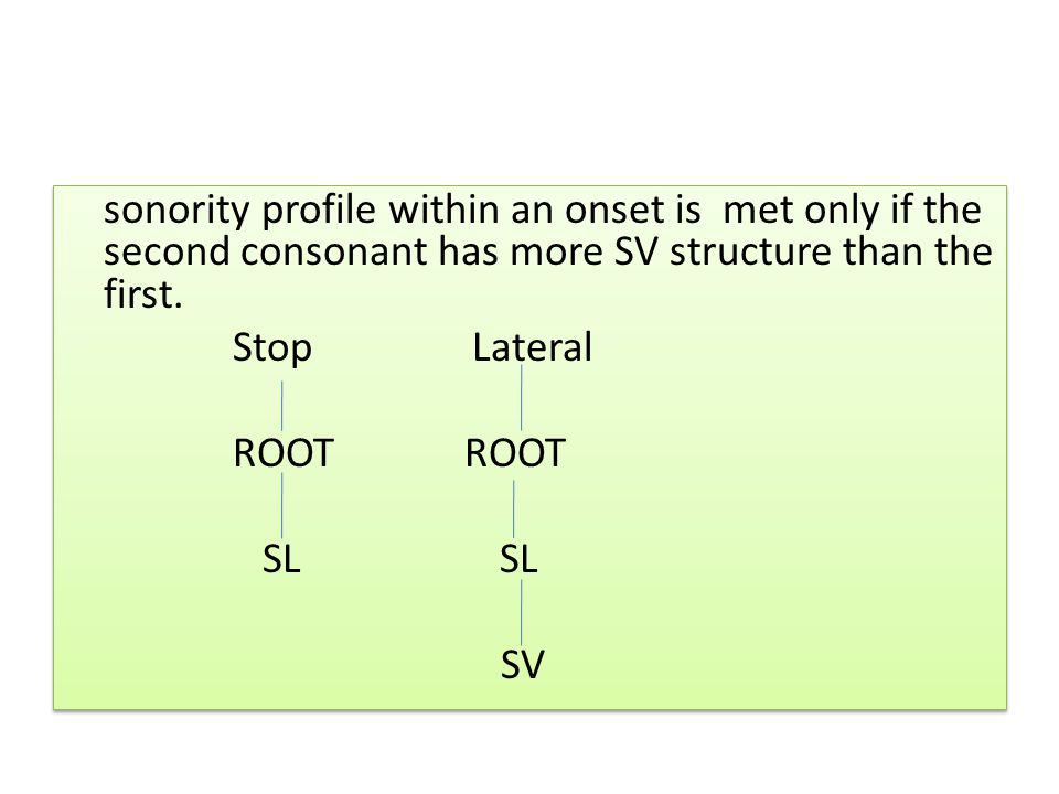 sonority profile within an onset is met only if the second consonant has more SV structure than the first.