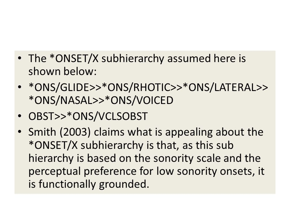 The *ONSET/X subhierarchy assumed here is shown below: