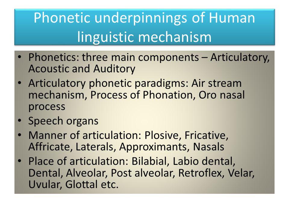 Phonetic underpinnings of Human linguistic mechanism