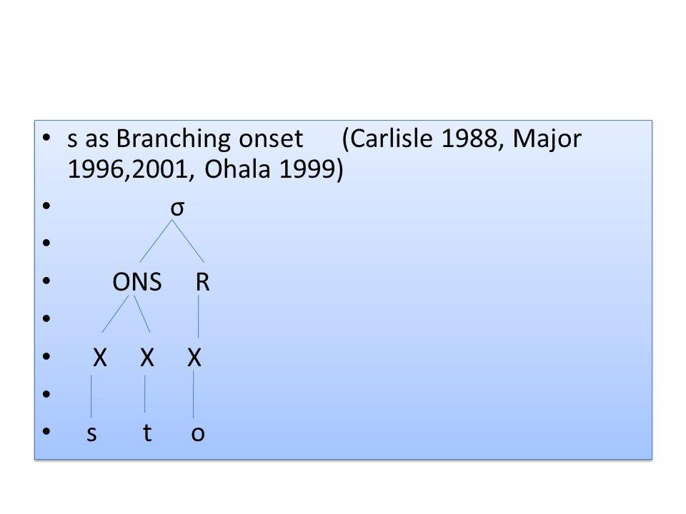 s as Branching onset (Carlisle 1988, Major 1996,2001, Ohala 1999)