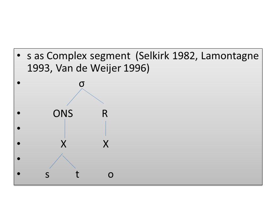 s as Complex segment (Selkirk 1982, Lamontagne 1993, Van de Weijer 1996)